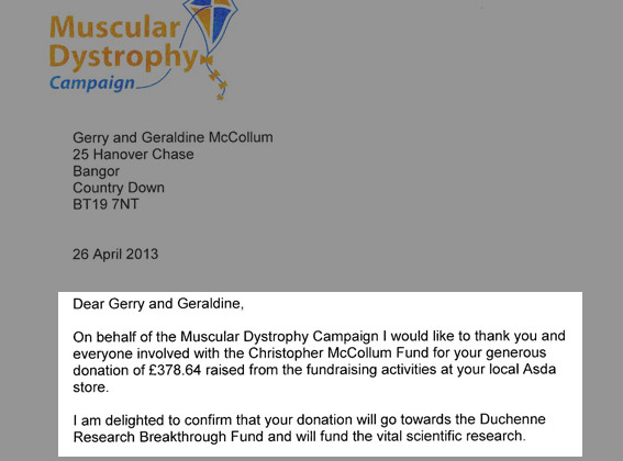Muscular Dystrophy Thanks 'CHRIS' and ASDA