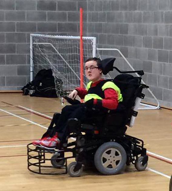 Marc playing Powerchair Football