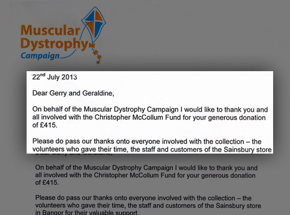 Muscular Dystrophy thanks Sainsbury's Bangor